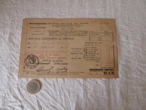 3フランス パリガスメーター 料金表 1924 december 1925 january Paris gas recipt antiques vintage paper papir
