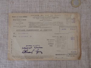 6 フランス パリガスメーター 料金表 1923 july Paris gas recipt antiques vintage paper papir