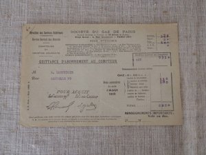 8 フランス パリガスメーター 料金表 1922 august Paris gas recipt antiques vintage paper papir