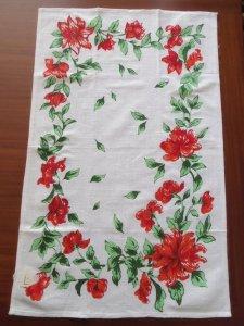 ルーマニア デッドストックのキッチンリネン タオル レトロ フラワー 赤 Romania deadstock kitchen cloth flower