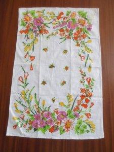 ルーマニア デッドストックのキッチンリネン タオル レトロ フラワー オレンジ 2 Romania deadstock kitchen cloth flower