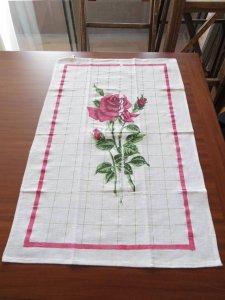 ルーマニア デッドストックのキッチンリネン タオル レトロ バラ 3 Romania deadstock kitchen cloth rose
