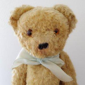 ハンガリー テディベアー グラスアイ イエロー ボタン鼻  hungary teddy bear old vintage glass eyes button nose