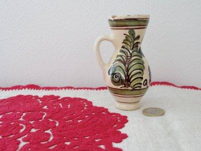 ルーマニア コロンド村の陶器の小さな花瓶 水差し 緑・Romania Korond pottery vase small green