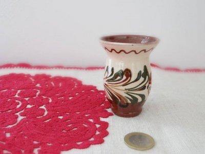 ハンガリー 陶器の小さな花瓶 茶色 ・Hungary pottery vase brown
