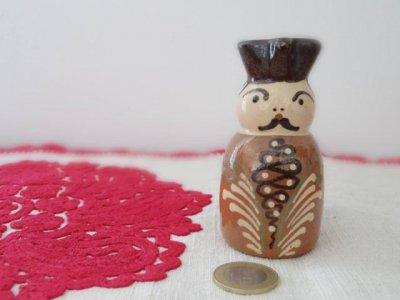 ハンガリー 陶器の小さな花瓶 おじさん ・Hungary pottery vase ojisan