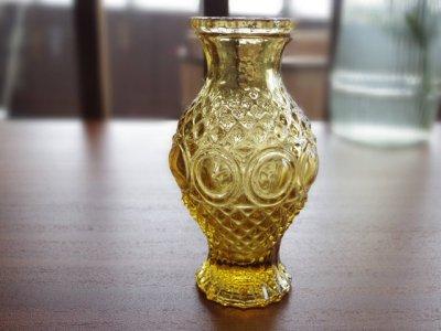 ハンガリー 飴色のガラス 小さな花瓶 ・Hungary glass vase small