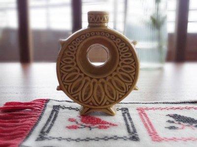 丸い穴の空いた扁壺  フラスク・pottery vase round small