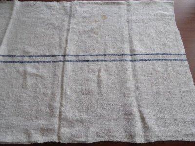 ハンガリー ビンテージ 手織リネンの穀物袋  青ライン カット1(94x57)