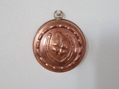 銅 焼き菓子型 小 馬蹄と四つ葉のクローバー 1・Copper Mold Mould small horseshoe four leaf clover