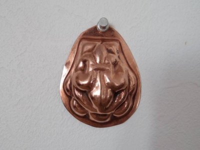 銅 焼き菓子型 牡蠣 百合の紋章 1・Copper Mold Mould oval small flour de lis