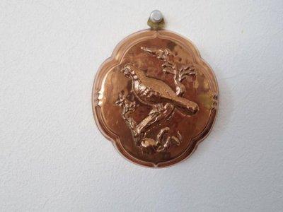 銅 焼き菓子型 木に鳥 1・Copper Mold Mould small bird