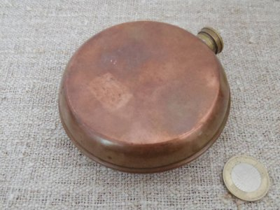スウェーデン 銅 丸型 スキットル フラスク  Sweden copper hip flask skittle