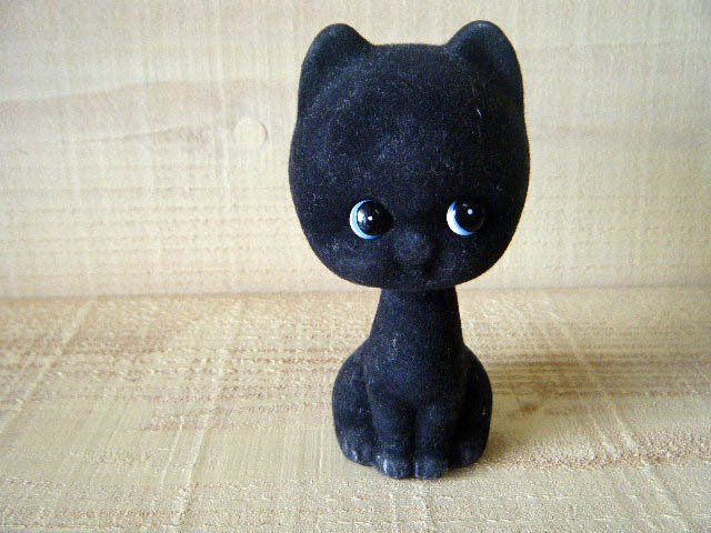 50s振り子の黒猫の置物,招き猫・LUCKY CAT BLACK KITTEN SWING HEAD DOLL