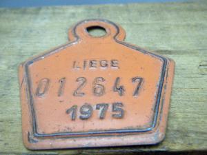 ドイツ蚤の市  ベルギー Liege メタルプレートタグ オレンジ 1975 012647・VINTAGE metal plate tag Belgium