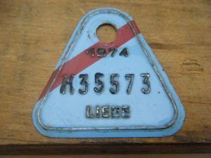ドイツ蚤の市  ベルギー Liege メタルプレートタグ 水色 1974 M35573・VINTAGE metal plate tag Belgium