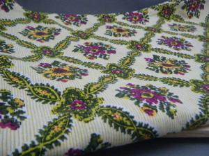 ハンガリー蚤の市 細かなストライプにフラワー 東欧風 壁紙模様のレトロ布  ビンテージ 個性的なリメイク材料 retro cloth fabric material vintage