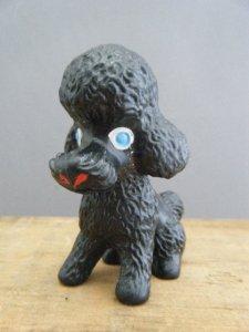 ドイツ蚤の市 ラバードール プードル ミニ カードホルダー マスコット人形(ブラック)vintage old Germany rubber doll mini poodle black
