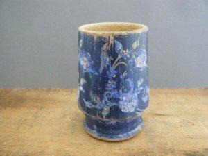 東欧 ハンガリー 藍色 アラベスクフラワー模様の木のコップ hungary wood cup arabesque flower deep blue