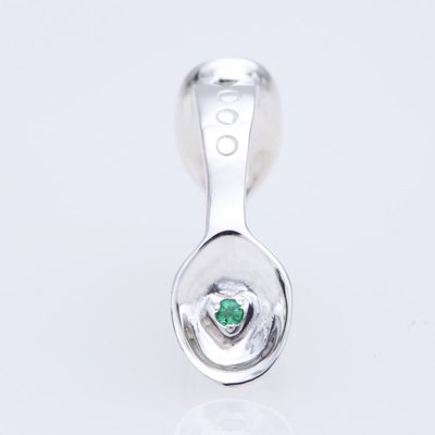 SILVER SPOON BABY RING WITH BIRTHSTONE - MAY -