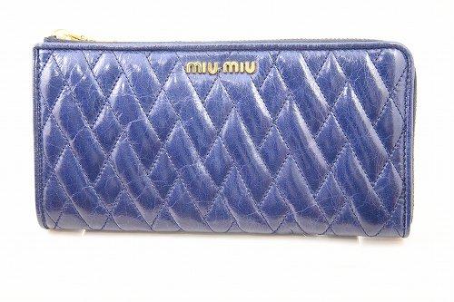 MiuMiu L型ジップ長財布 ネイビー