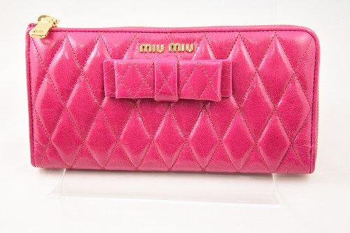 MiuMiu L型ジップリボン付長財布 赤紫