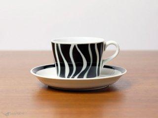 Arabia ステンシル コーヒーカップ&ソーサー ブラック
