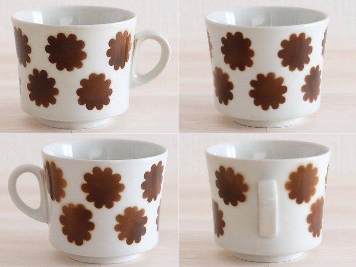 Arabia ステンシル カップ&ソーサー ブラウンのお花