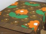 ヴィンテージ生地 ブラウンxオレンジのお花