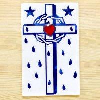 メキシコ ステッカー十字架L(ブルー)
