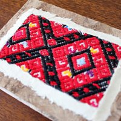 メキシコ 刺繍ノートサンアンドレスララインサール織(レッド)