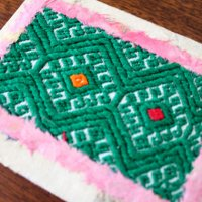 メキシコ 刺繍ノートサンアンドレスララインサール織(グリーン)