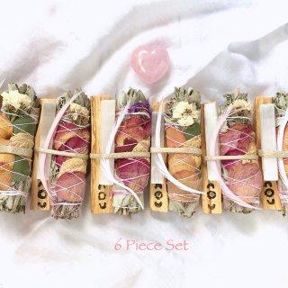 【業務用・卸】ローズフラワースマッジバンドルwithパロサント&セレナイトA.B.C×6パック