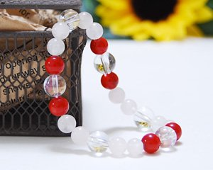ローズクォーツ×コーラル×オーロラ水晶 天然石ブレスレット ~真実の愛と美を兼ね備えた女神の石