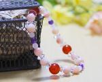 ピンクオパール×ローズクォーツ×カーネリアン ブレスレット 〜LOVEを呼ぶ魔法のコントラスト