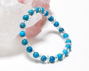 ターコイズ×水晶 天然石パワーストーンブレスレット 〜空を思わせる美しきスカイブルーの魅力