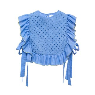 Embroidered Blouse Lupina blue 4-10Y