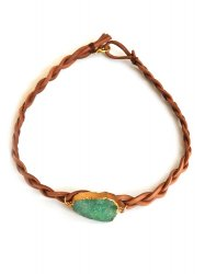 GREEN DRUSY SPIRIT QUARTZ LEATHER NECKLACE