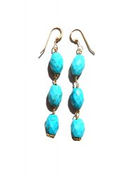再販/MAGNESITE TURQUOISE LONG PIERCE EARRING
