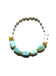 LARIMAR MOTHER OF PEARL BRACELET