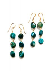 CHRYSOCOLLA TRIPLE PIERCE EARRING