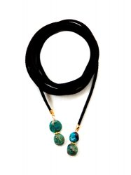 CHRYSOCOLLA BLACK LEATHER NECKLACE