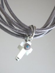 SILVER SHELL CROSS MAGNESITE TURQUOISE LEATHER NECKLACE