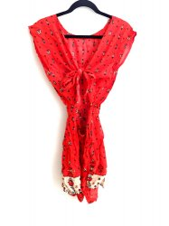 GYPSY BEACH ROMPER RED