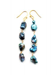 OUTLET/KESHI NAVY PEARL PIERCE EARRING