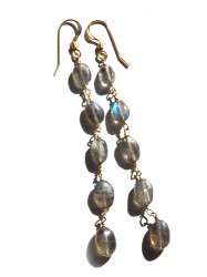 LABRADORITE LONG PIERCE EARRING
