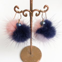 【SALE】Minkfur Pearl Pierce Earring(Pink/Purple/Navy)