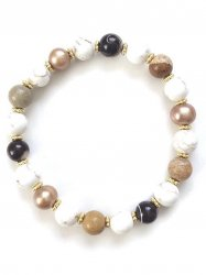 Gold pearl/Jasper/Magnesite/Mother of pearl Bracelet
