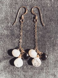 【再販】Mini jewel Smokey quartz Opal Pearl Chain Pierce Earring