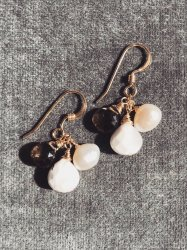 Mini jewel Smokey quartz Opal Pearl Pierce Earring